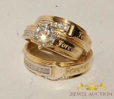 "Diamond ""FOREVER"" Engrave Trio Matching Wedding Ring Set 14K Yellow Gold Bridal"