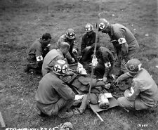 WW2 Photo WWII US Medics with Wounded Soldier in Normandy  / 1215