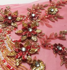 1PCS Layered Red-gold/Rose red/Blue Flower Sequins Rhinestone Sew Applique WT110