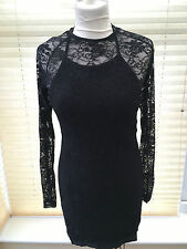 Ann Summers Kisha Black See Through Front Lace Up Long Sleeved Dress UK SIZE 10