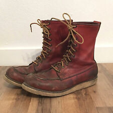 vtg IRISH SETTER mens moc toe leather crepe wedge work boots red wing 8 D 1990s