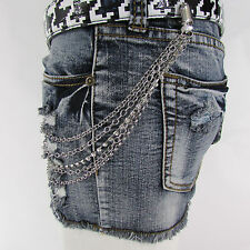 New Women Belt Connected Silver Metal Strands Wallet Jeans Chain Fashion Jewelry