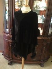 EVENING VELVET CAPE JACKET FEATHERS BLACK OSFM CLASSIC FORMAL