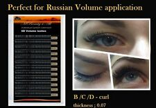 Russian Volume Lashes 3D Individual Eyelash Extensions 0.07 C /10mm