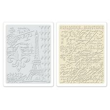 Sizzix Texture Fades Embossing Folders 2PK - Eiffel Tower  French Script 658577