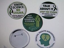 "12 Large MENTAL HEALTH AWARENESS PINS 3"" button pins FREE SH buttons pin"