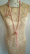 Vtg 1920,s style Downton Gatsby blush pink beaded wedding flapper dress 12