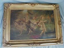 Antique Oil on Canvas Painting Allegorical/Mythical Puck Dancing Half Nude Women