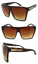 Extra Large Men Women Flat Top Oversize Retro Square Sunglasses Funky -Tortoise