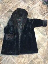 Plus Size 2X Womens 20 to 24 Faux Fur Coat with Faux Mink Hood and Cuff Trim