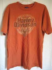 Harley Davidson T-Shirt Laconia Men Size Large Rust Orange Cotton New Hampshire