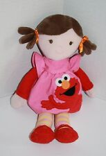 "Sesame Street BABY GIRL DOLL Plush 12"" Wearing ELMO Dress Brunette Brown Hair"