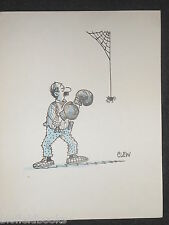 "CLIFFORD C LEWIS ""CLEW"" Original Pen & Ink Cartoon - Man Boxing Spider #205"