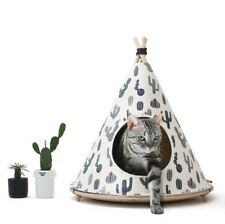 Indian Teepee Pet Tent Fabric Wooden Cat Round Cushion Dog House