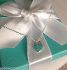 "Tiffany & Co. RARE Silver Blue Enamel Small Heart Keyhole Pendant 16"" Necklace"