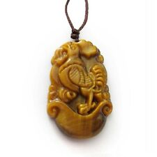 Tiger Eye Gemstone Happy Lucky Chinese Zodiac Rooster Money Amulet Pendant