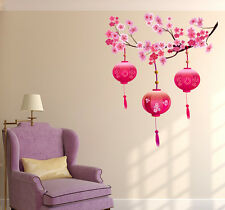 Wall Stickers Living Room Beautiful Chinese Lamps Lantern Pink on Floral Branch
