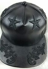 Hater Snapback Hat OuterSpace Black Pseudo Leather Black Star Edition