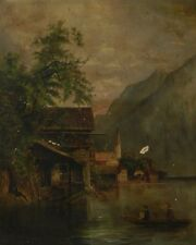 19th Century Italian Landscape Oil Painting  Framed signed