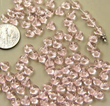 Czech Glass Transparent Tiny PinkHeart Shaped Beads 6X6mm~ 50 Beads~