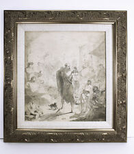 Outstanding 1800s ORIGINAL Italian Master Drawing WORDS OF WISDOM Framed COA