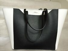 NWT FURLA Fantasia Medium Black Onyx Chalk Soffiano Leather Bag Tote $328