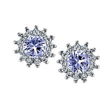 925 Sterling Silver Formal Stud Tanzanite CZ Earrings Cubic Zirconia Pushbacks
