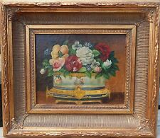 Flowers in Taureen OLD American Antique Still Life Oil Painting NO RESERVE