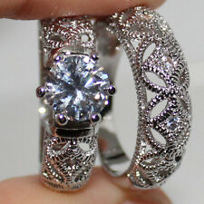 Size 7/N Jewelry Womens 925 Silver White Topaz Handmade Wedding Band Ring Set
