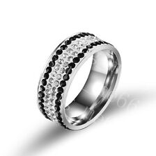 Stainless Steel Fashion Ring 4Row CZ Inlay Wedding Anniversary Gift Size 6-12