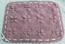 NEW BEAUTIFUL HAND KNITTED LINED ROSE PINK BABY BLANKET