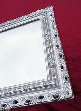 Wandspiegel 43x36 Spiegel BAROCK Rechteckig Repro SILBER Bilderrahmen Arabesco 1