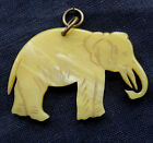 vintage art deco unusual swirled celluloid carved elephant pendant -D279