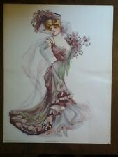 1907 Victorian NY Show Girl Print Purple Dress Knickerbocker Vintage Old