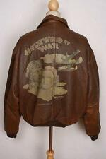 "VINTAGE AVIREX A-2 HOLLYWOOD IN GUERRA ""USAAF Flight LEATHER JACKET TAGLIA XL"