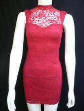 New Women Cocktail Dress Red Flowers Lace Classic Fashion Short Sleeveless M / L