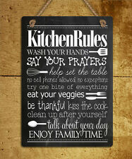 metal hanging sign chalk style Kitchen rules humour quote wall door plaque gift