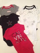 Calvin Klein Baby Boy Girl Bodysuits Set Layette Size 0-3 Months Black Red Stars
