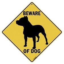 "Beware of Dog Metal Crossing Sign 16 1/2""x161/2"" Diamond shape Made in USA #368"