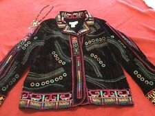 Coldwater Creek Size L Snap Shut Colorful Embroidered Velour Boho Jacket Black