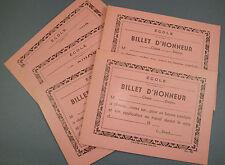 5 BILLETS D'HONNEUR ANCIEN VIERGE BON POINT TEMOIGNAGE ECOLE SCOLAIRE SCHOOL OLD