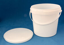 10 x 1580ml White Plastic Tamper Proof Tubs/Buckets with Lids & Handles
