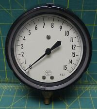 "Acco Helicoid 4 1/2"" Pressure Gauge 0-15 PSI NSN 6685-00-194-1683 Bottom 1/4 Con"