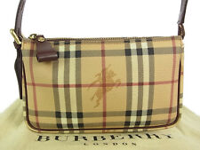 Auth BURBERRY LONDON Nova Check Plaid PVC Leather Hand Bag G/C F/S 11208eRQ