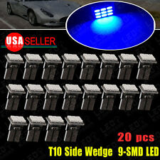 20X Blue T10 W5W Wedge Side 9-SMD LED Bulb Dome Map Cargo Light 158 168 192 2825