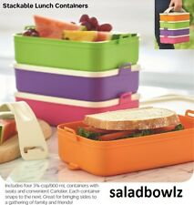 TUPPERWARE New STACKABLE LUNCH CONTAINERS Click to Go Set w/ Handle fREEsHIP