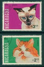 [JSC] 2pcs CATS STAMPS COLLECTION, NICARAGUA (NORTH AMERICA)