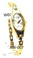 New Citizen Ladies Gold-tone 04 Genuine-Crystals, Oval-dial Dress Watch