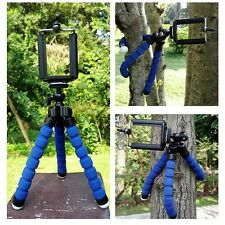 Universal Mini Flexible Stand Tripod Mount + Free Holder For Smart Phone{Blue