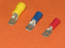 RED,YELLOW,BLUE, MALE  SPADE INSULATED CRIMP TERMINALS   QTY = 10 ea